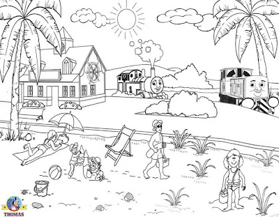 Free printable 10 Diesel Dart and Thomas the tank engine Ocean beach sea colouring pictures for kids
