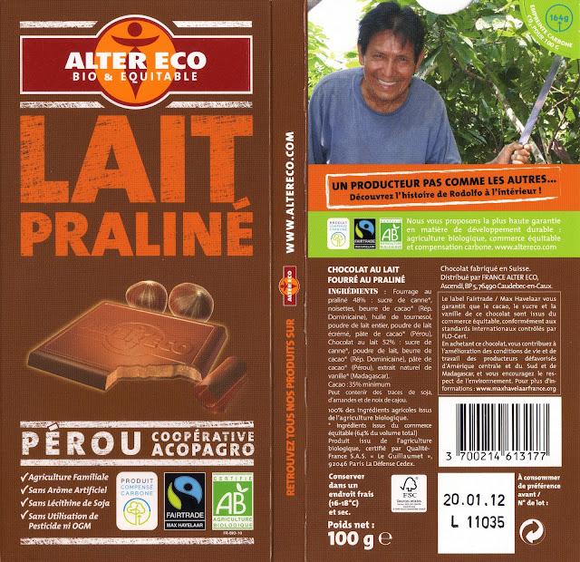 tablette de chocolat lait fourré alter eco pérou lait praliné