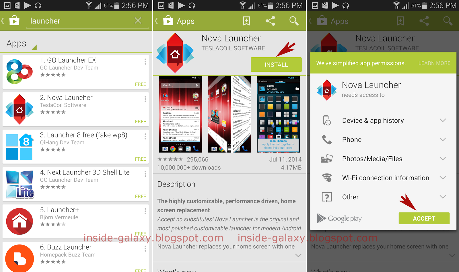 Samsung galaxy s5 how to install free applications from Play store app