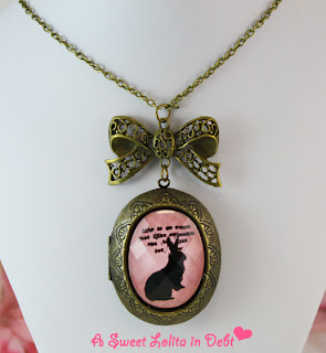 locket necklace, bunny locket,pink bunny locket necklace, locket and bow necklace