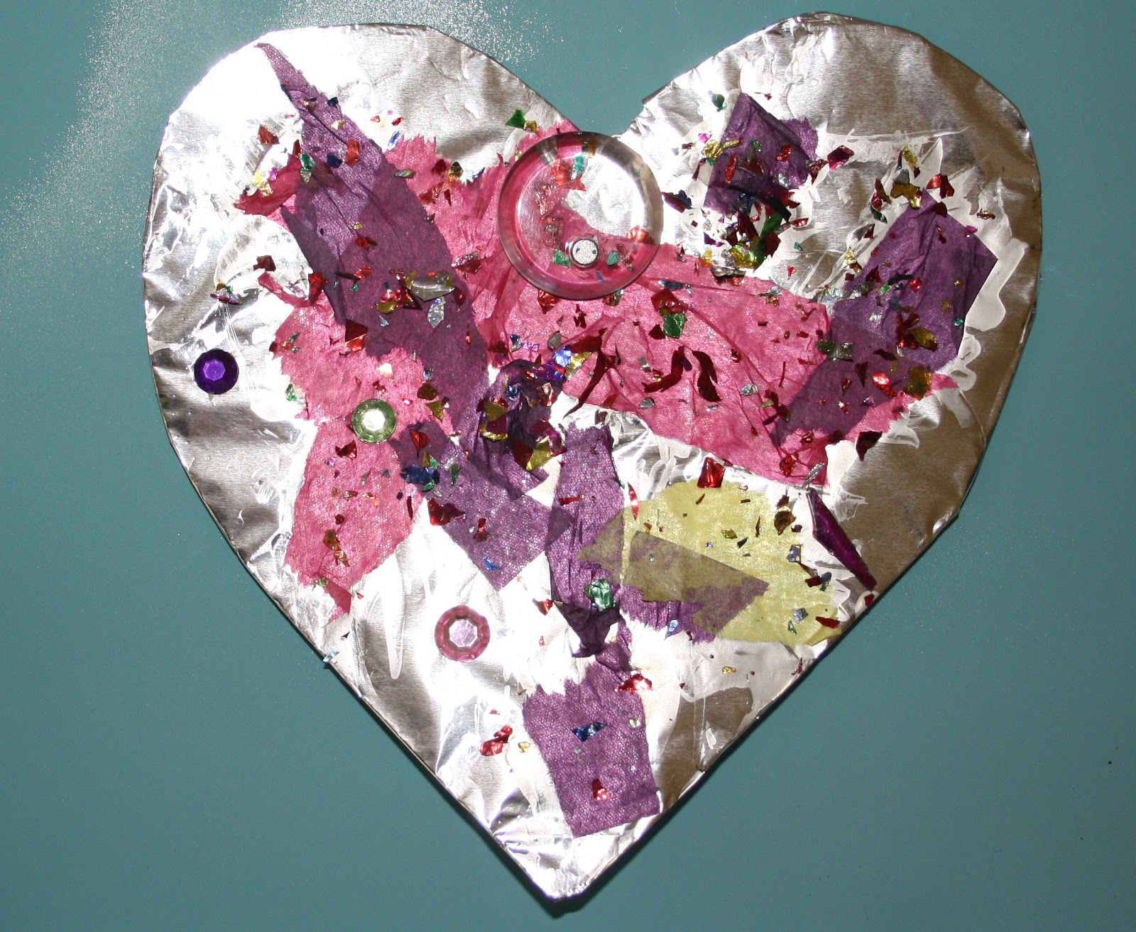 Preschool crafts for kids valentine 39 s day foil hearts for Valentine crafts for kindergarteners
