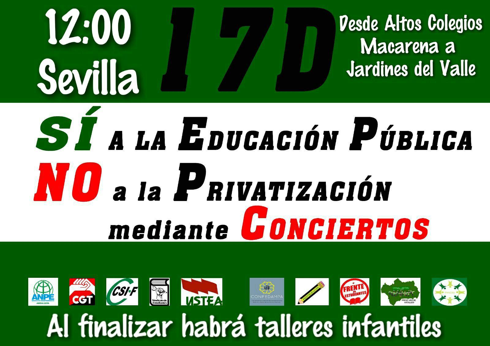LA COMUNIDAD EDUCATIVA ANDALUZA CONVOCA MANIFESTACIONES POR LA ESCUELA PÚBLICA