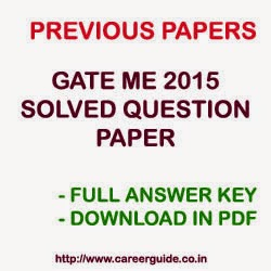 Download GATE 2015 ME Mechanical Engineering Solved Question Paper with Full Answer Key