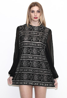 Vintage 1960's long sleeved black crochet mod mini dress.