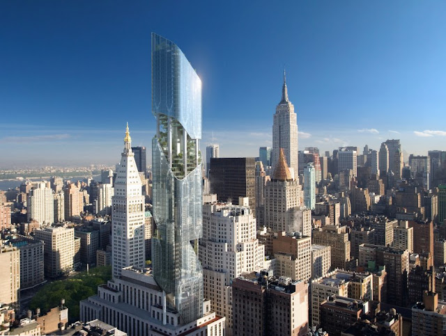 Photo of new New York tower atop old building with other New York towers in the background