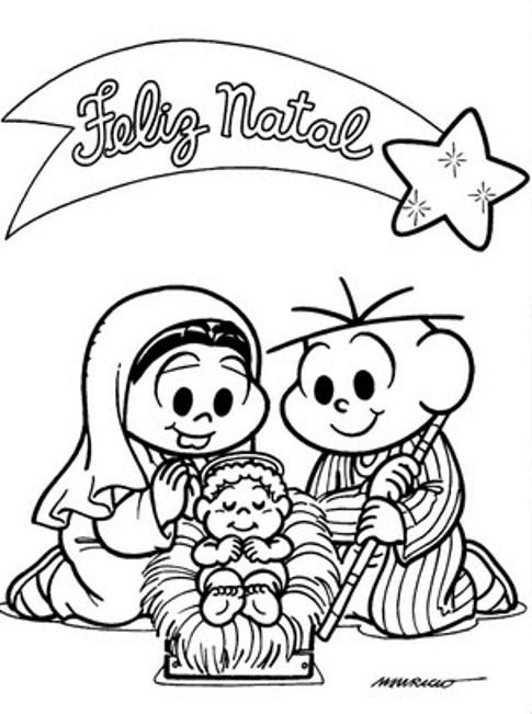 desenhos de natal da turma da monica para imprimir e colorir