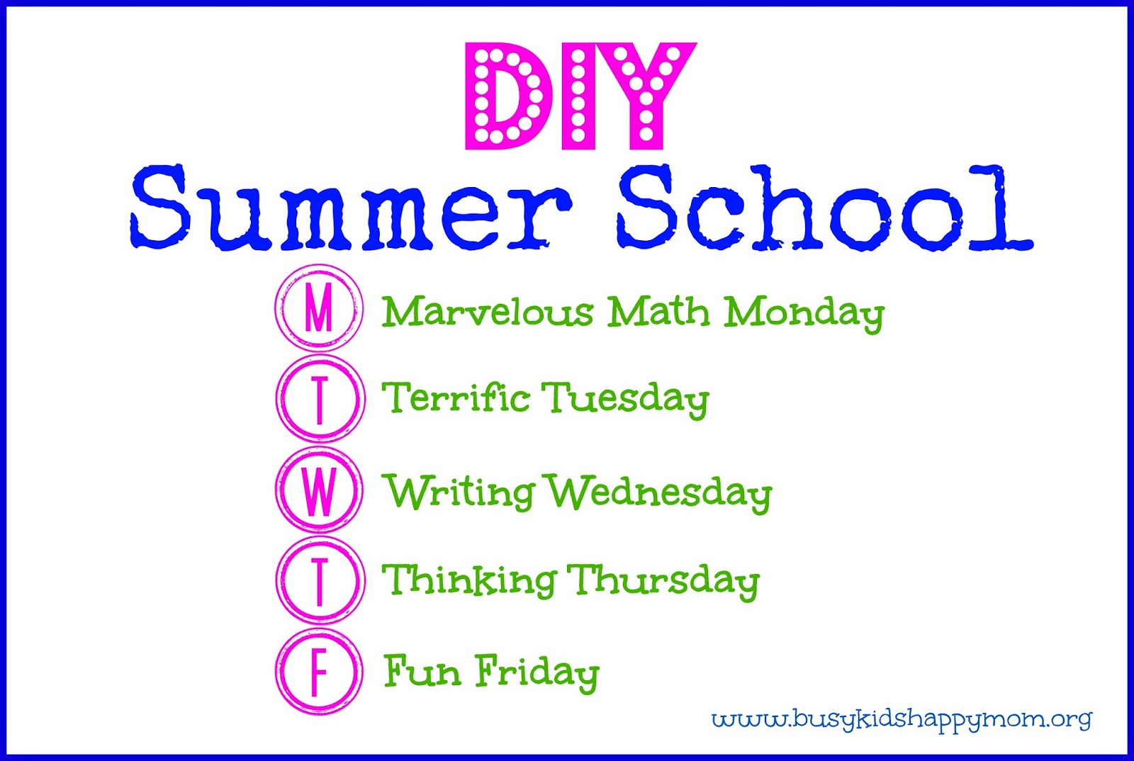 do it yourself summer school from busy kids happy mom fun ideas for each day of the week and simple activities to