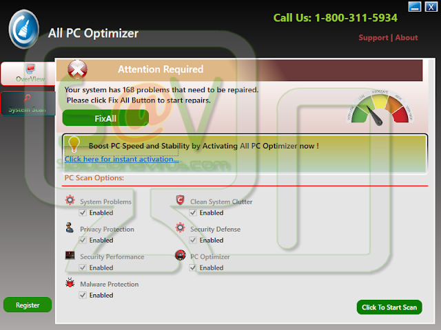 All PC Optimizer - Virus