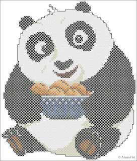 Black and white Baby Po. Baby Po, Kung Fu Panda, cartoon, cross-stitch, back stitch, cross-stitch scheme, free pattern, x-stitch, stitch, free, вышивка крестиком, бесплатная схема, хрестик, punto croce, schemi punto croce gratis, DMC, blocks, symbols