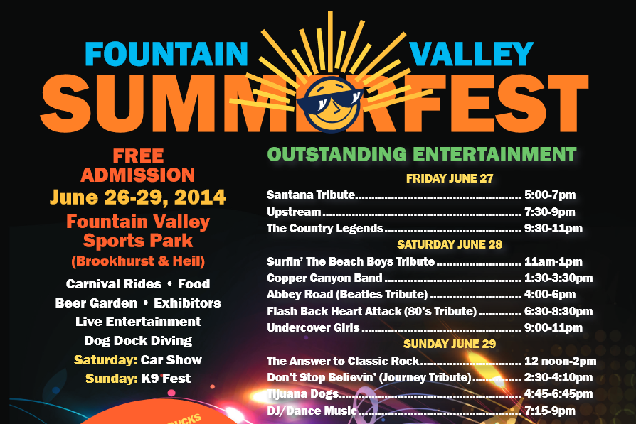 FOOD TRUCKS, GAMES, & MUSIC @ THE FOUNTAIN VALEY SUMMERFEST 2014
