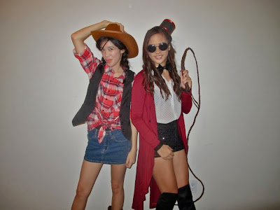 Alexa and Melissa Halloween 2013 ringmaster cowgirl