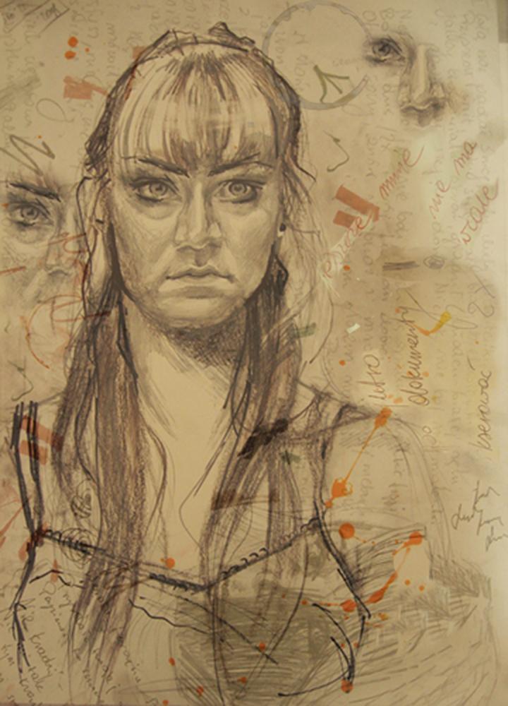ilustracja portretu stylizacja rysunek stylizowany na stary Urbaniak portrety na zamówienie portrait old technique pencil textures