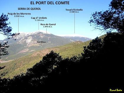 El Port del Comte i la Serra del Querol des del camí de la casa dels Forats. Autor: Ricard Badia