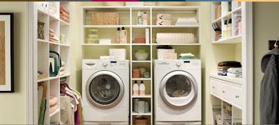 Sắp xếp đồ đạc khu vực giặt là