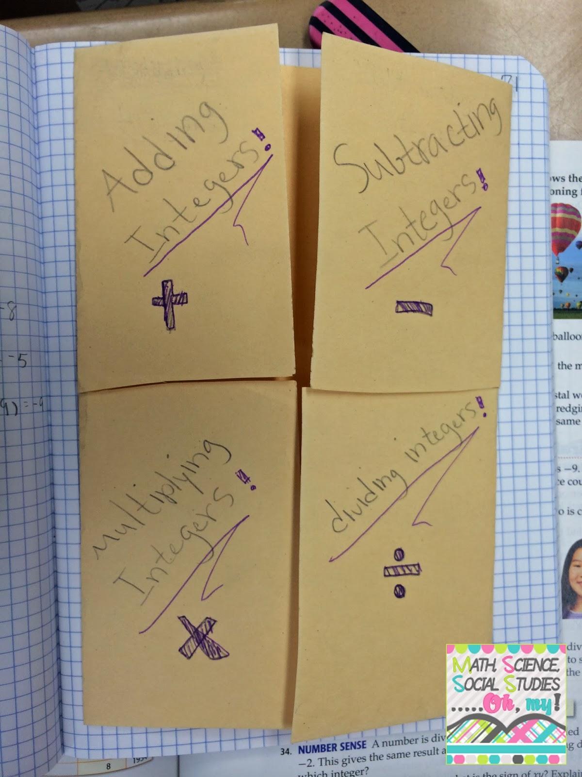 foldable friday  integers