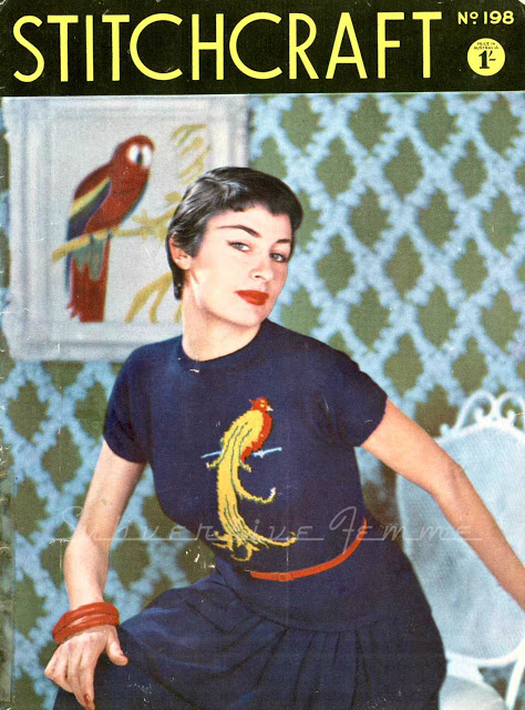 1950's Knitting - STITCHRAFT FREE PATTERN Tropical Bird Jumper