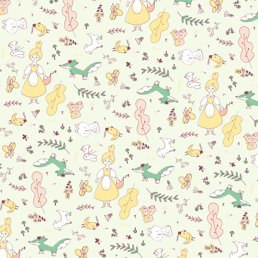 pattern, estampado, cute, animals, woodland, girlie