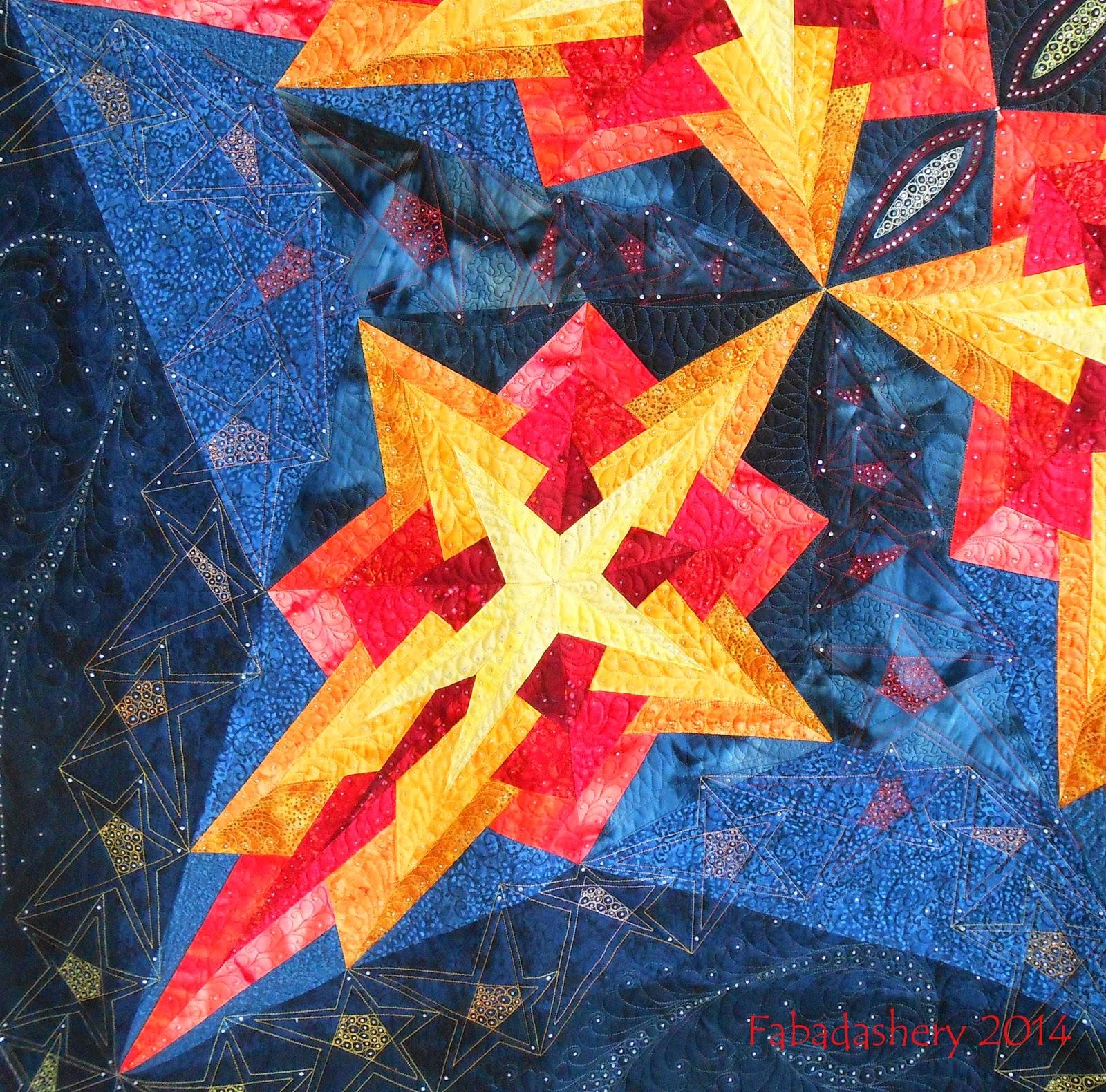 Detail 'Shooting Stars' by Brigit Schüller longarm quilt