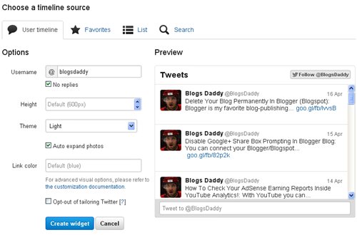 Twitter Widgets Configurator - Blogs Daddy
