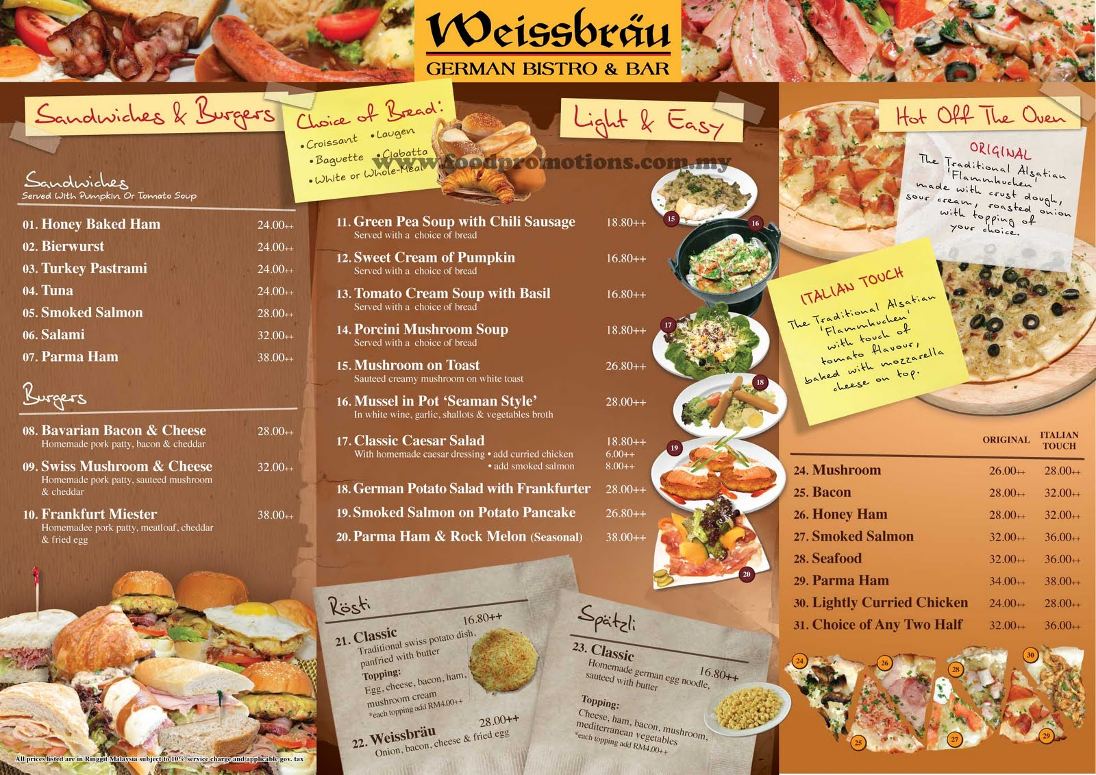 Food street weissbr u german bistro bar new menu for Food bar menu