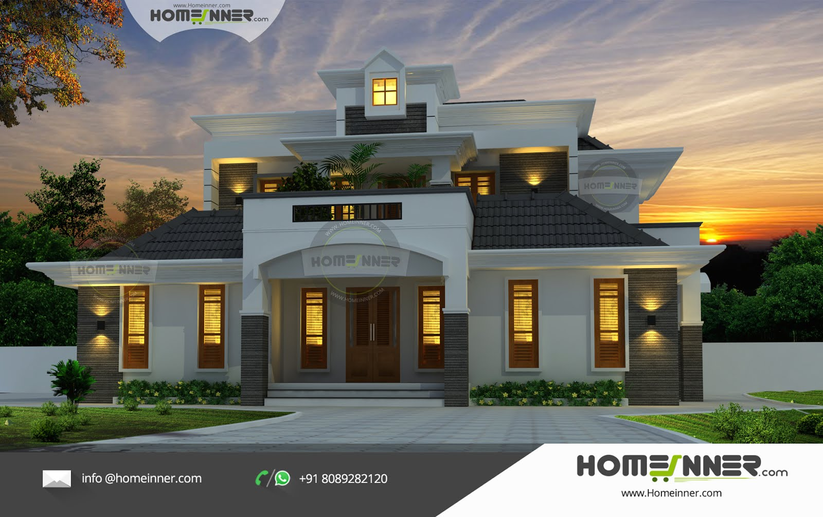Premium luxury villa kerala traditional with modern for Architecture design kerala house