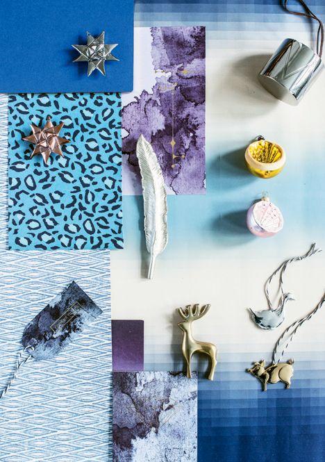 fin styling med blå og gyldne nuancer i Boligliv