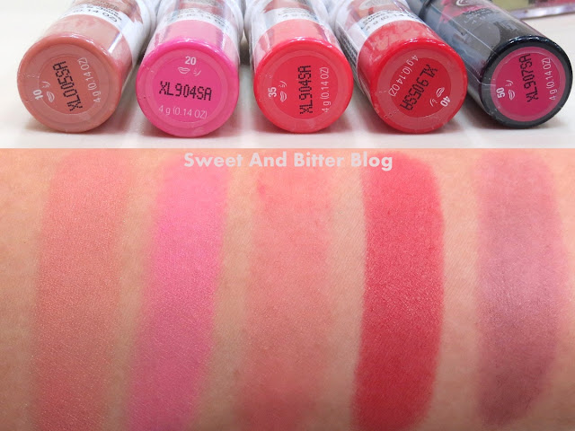 The Body Shop Lip and Cheek Velvet Stick Swatch 10 N*de, 20 Pink, 35 Coral, 40 Red, 50 Universal