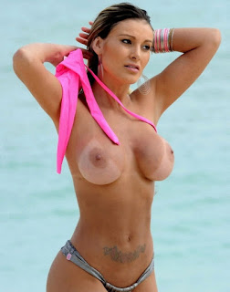 Alessandra Urach Topless at the Beach