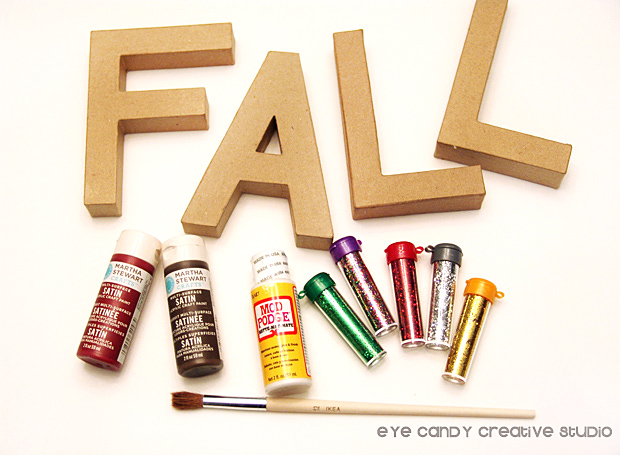 supllies to glitter paper mache letters, glittered letters, fall word art