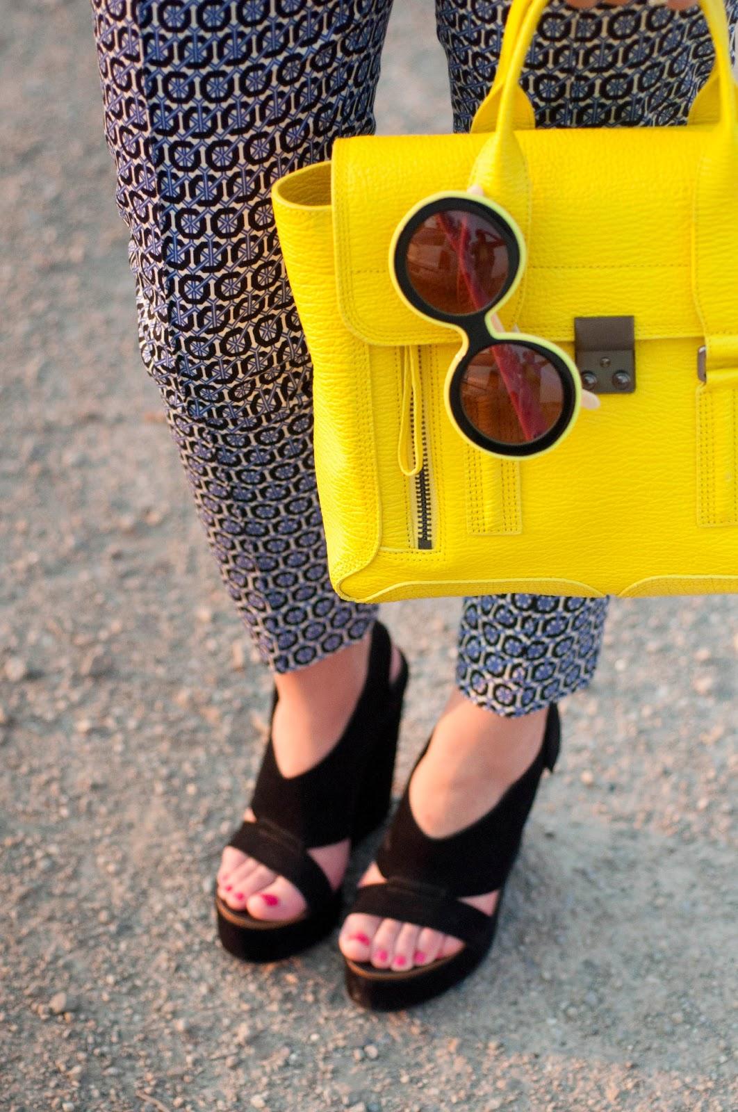 3.1 phillip lim, phillip lim medium pashli satchel, karen walker sunglasses, karen walker iris sunglasses, pedro garcia leather shoes, h and m pants, patterned pants