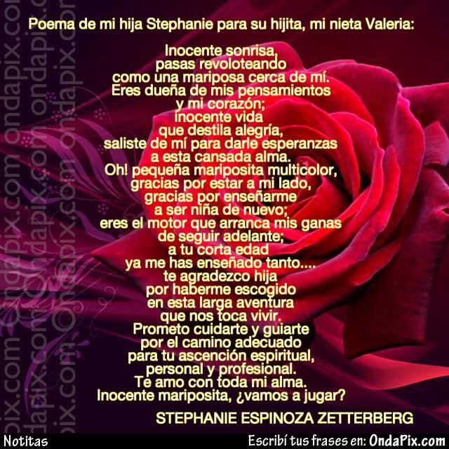 Poema de mi hija amada Stephanie para su hijita, mi nietecita Valeria