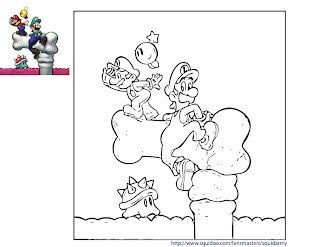 mario bros coloring pages - mario and luigi on bone