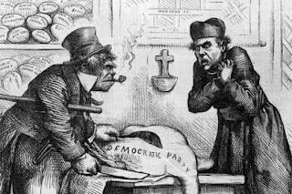 Thomas Nast's racist cartoon depicting the Irish as ape-like