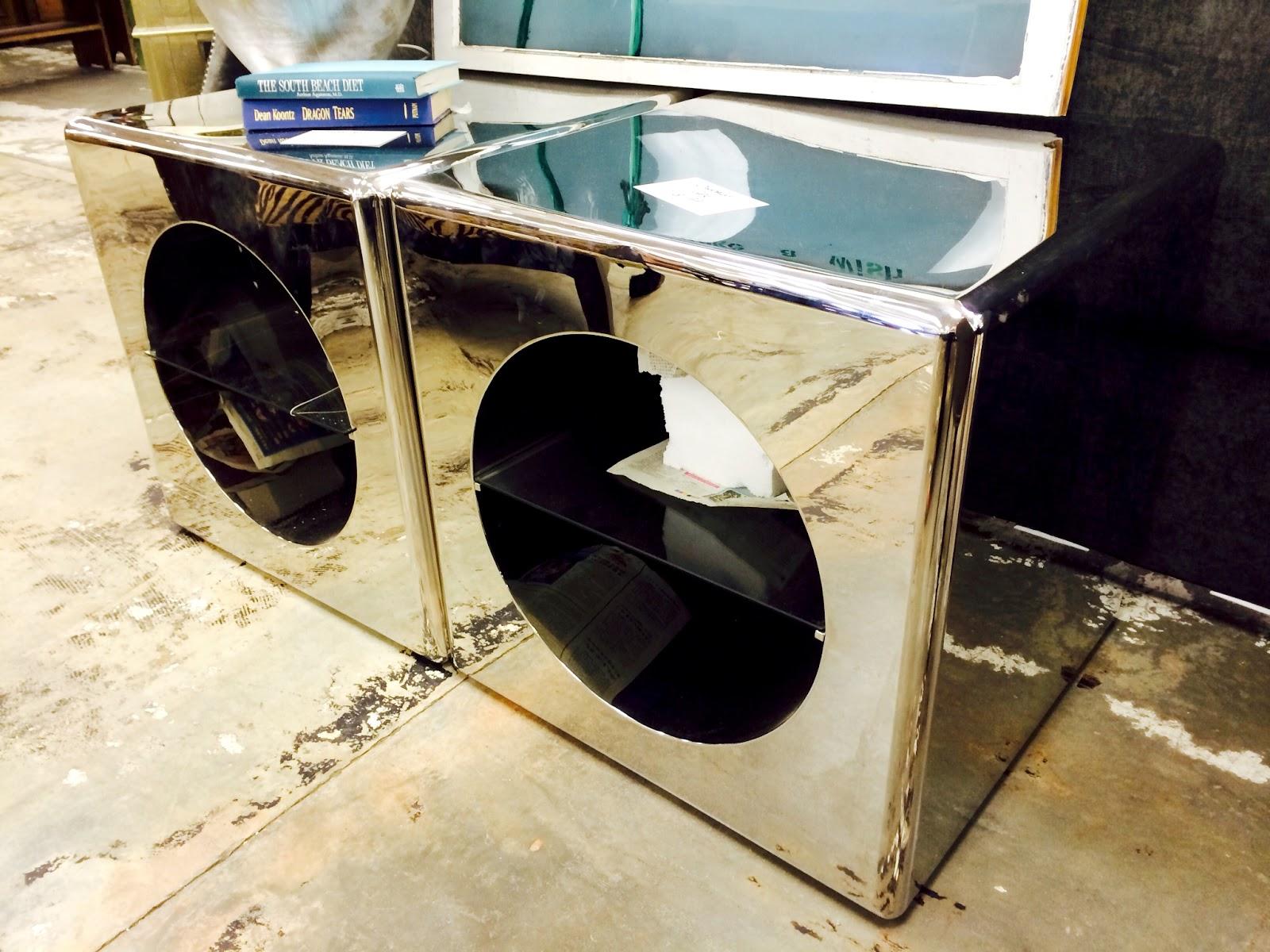mid century chrome end tables