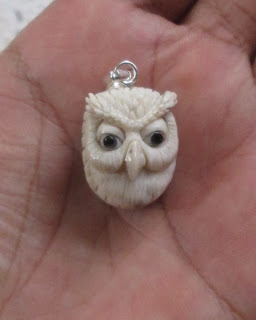 Owl Head Carved Antler Pendant