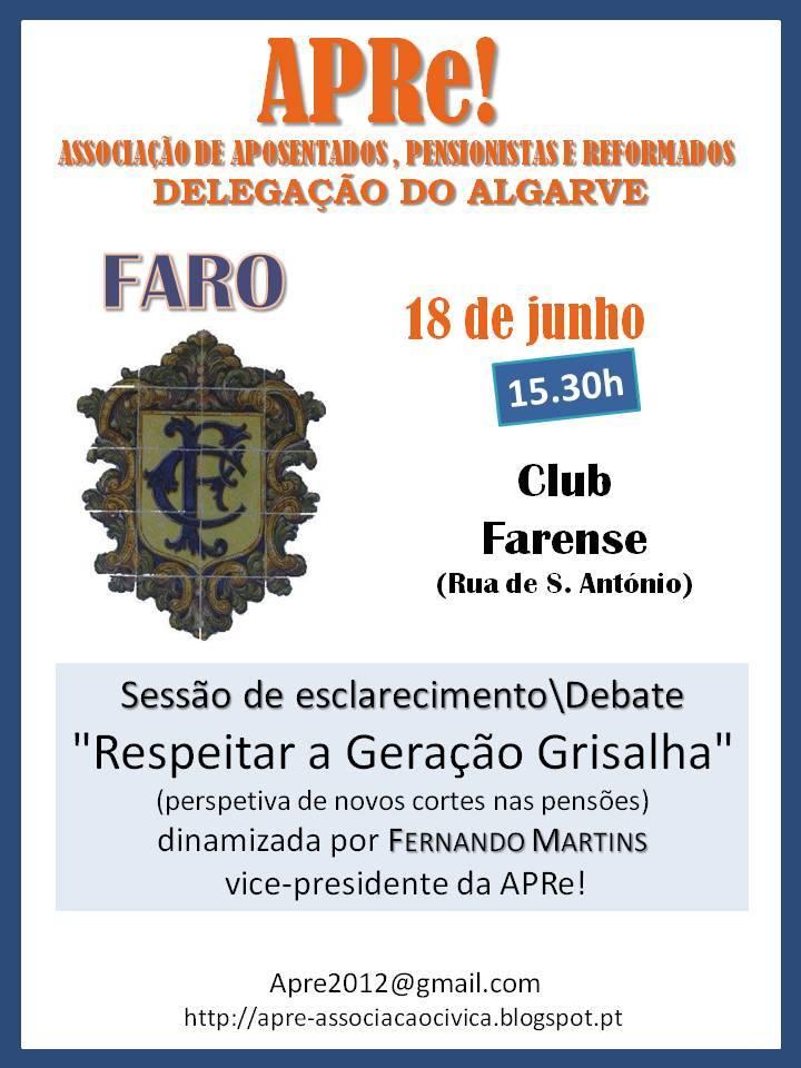 """Faro, sessão de esclarecimento/debate """"Respeitar a Geração Grisalha"""""""