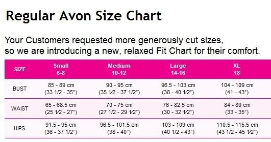 MailChimp: Regular Avon Size Chart