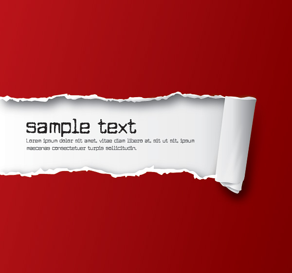 赤い破れた紙 Ripped Paper Red Vector Graphic   ai eps