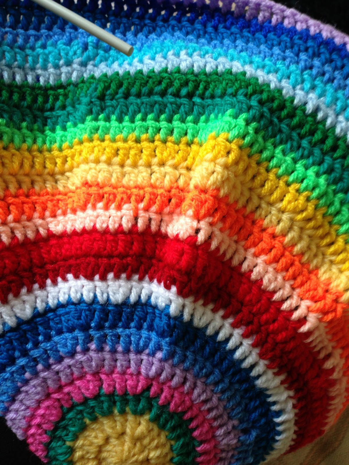 Crochet Bag And Pattern : Heart Rachel : Rainbow Bucket Yarn Bag
