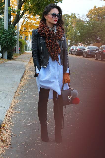 oversized dress, oversized style, fall layering, how to wear leather jacket in cold weather, over the knee boots, how to style shirtdress, structured handbag, how to style over the knee boots, leopard print scarf, top fashion blogger, toronto blogger, fall style, zara leather jacket