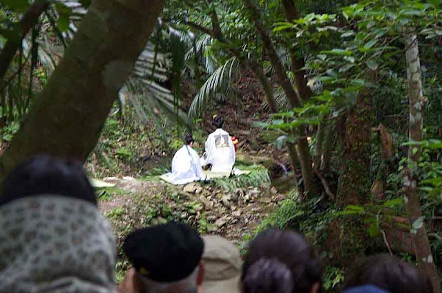 priestesses in white making offerings in Okinawa jungle