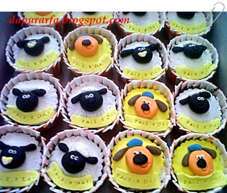Cupcake satuan tema Shaun 2 D utk goodybag