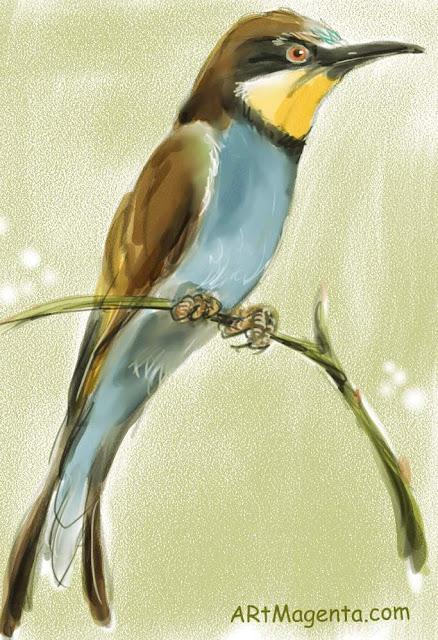 En fågelmålning av en biätare från Artmagentas svenska galleri om fåglar