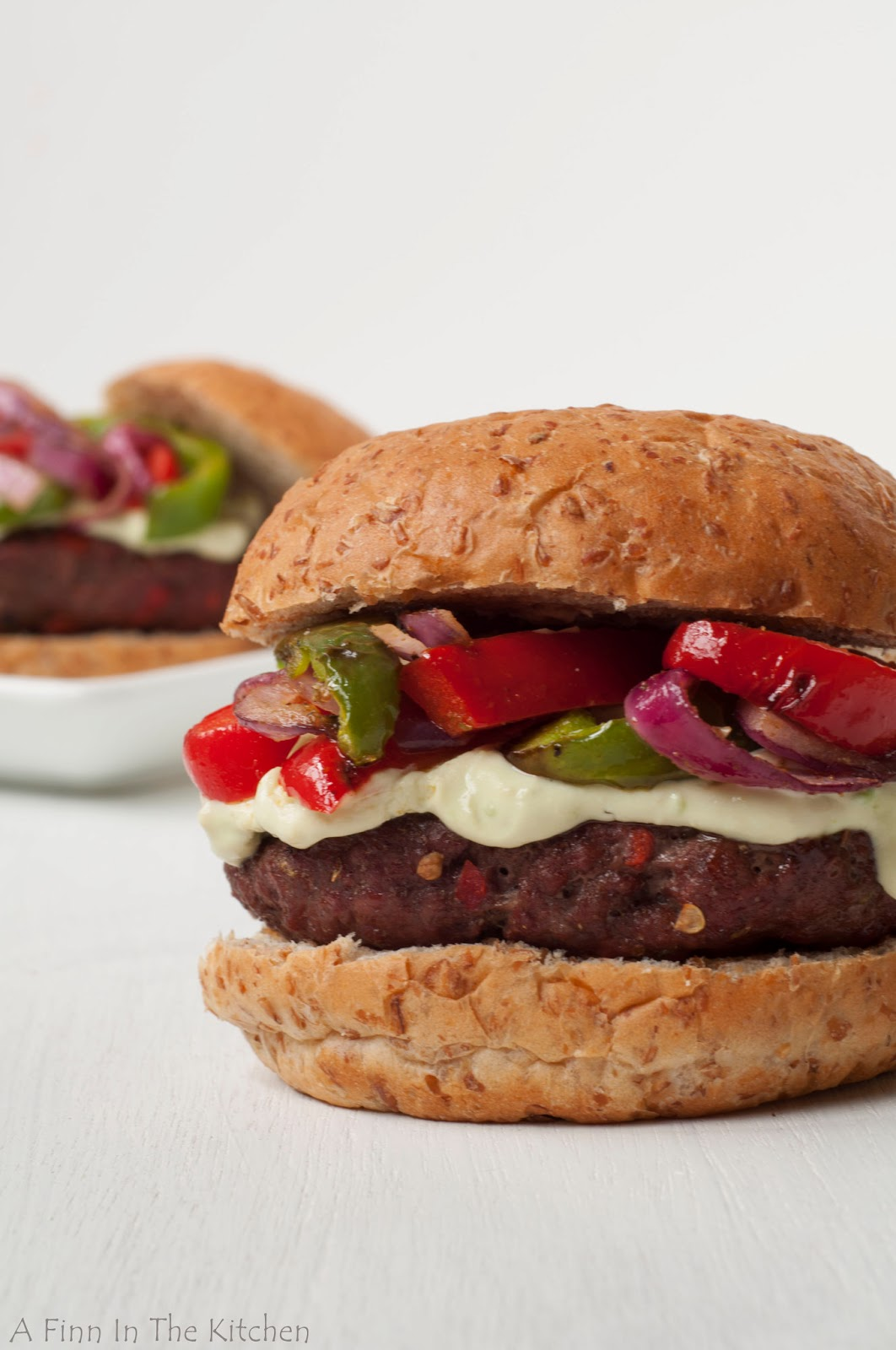 Fajita Burgers with Avocado Lime Sour Cream