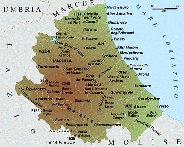 Abruzzo Map Political Regions Italy Map Geographic Region Province