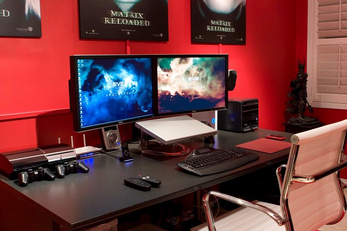bedroom comely excellent gaming room ideas. Superhero Dual Monitor Mac Desk Setup Bedroom Comely Excellent Gaming Room Ideas I