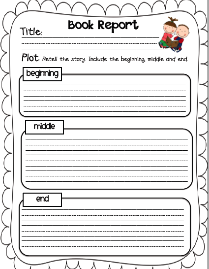 First Grade Book Report Form