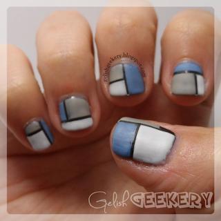 Gelish geometric Mondrian manicure