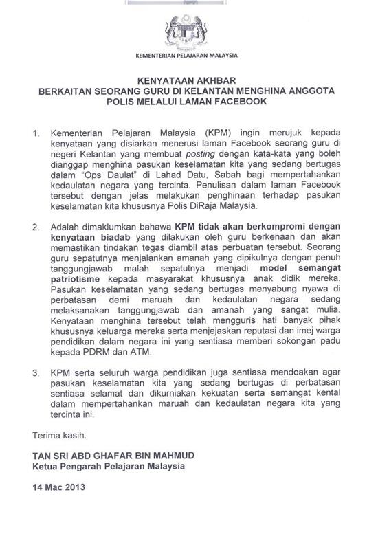Kenyataan Rasmi KPM~ Isu Cikgu Mohd Lotfi Nor