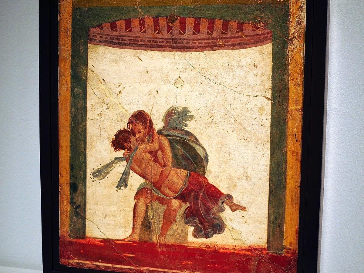 Fresco pompeyano. Eros besando a Psiqué. MAN de Nápoles